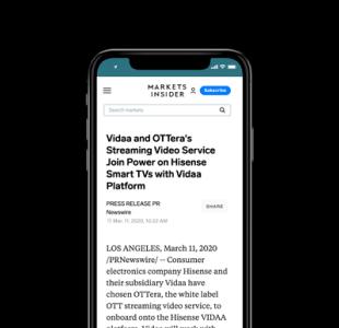Vidaa and OTTera's Streaming Video Service Join Power on Hisense Smart TVs with Vidaa Platform