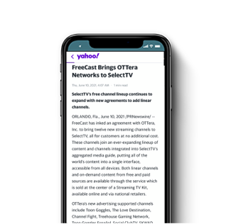 FreeCast Brings OTTera Networks to SelectTV
