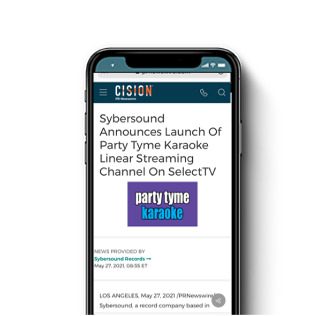 Sybersound Announces Launch Of Party Tyme Karaoke Linear Streaming Channel On SelectTV