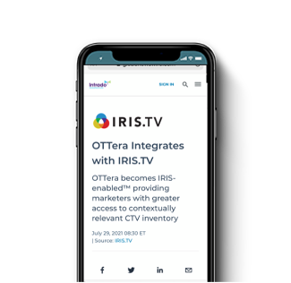 OTTera becomes IRIS-enabled  providing marketers with greater access to contextually relevant CTV inventory